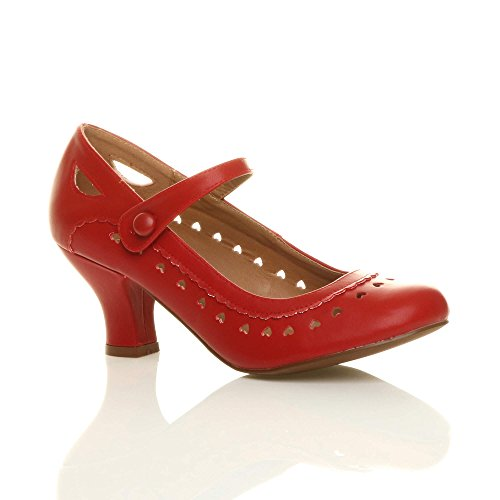 Para Mujer Ajvani Rojo De Tacón Zapatos pUwWqCYP