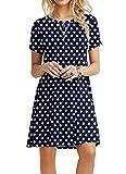 POPYOUNG Women's Summer Casual Tshirt Dresses Beach Dress Medium, Polka Dot Navy Blue