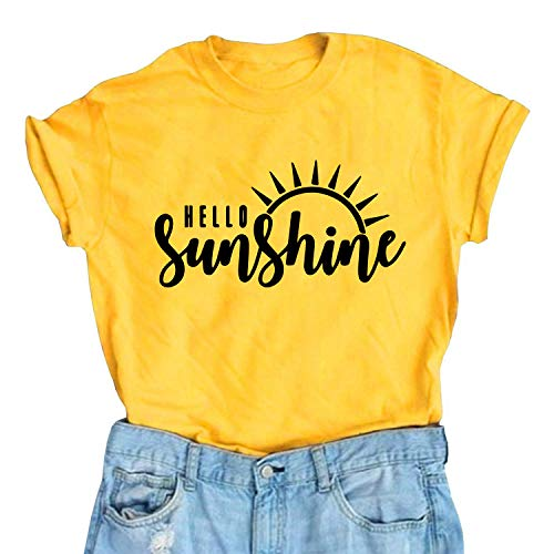 (Hello Sunshine T Shirt Women Summer Cute Graphic Vacation Shirt Short Sleeve Print T Shirt Nature Shirt(L,Yellow Crew))