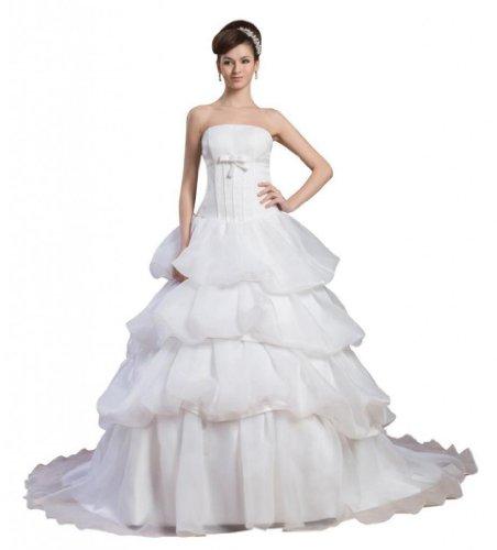 Dearta Strapless Wedding A Ivory Line Organza Dresses Court Princess Women's Train q7RHqZ