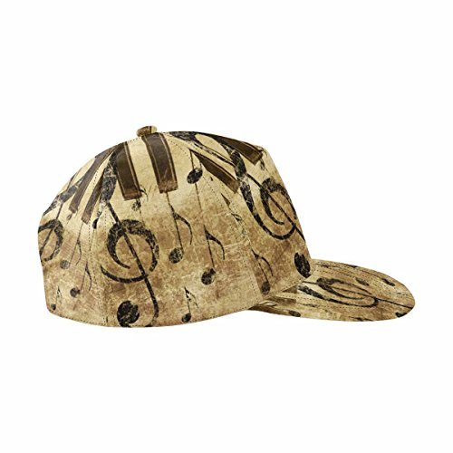 InterestPrint Grunge Retro Musical with Music Notes and Piano Women Men Adjustable Baseball Cap