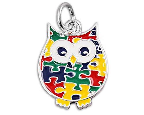 Autism Puzzle Piece Owl Charm in a Bag (1 Autism Charm - Retail) ()