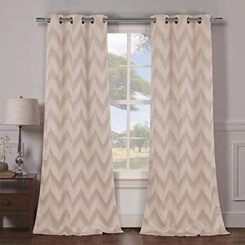 Duck River Textiles - Lysanna Chevron Striped Linen Textured Blackout Room Darkening Grommet Top Window Curtains Pair Panel Drapes for Bedroom, Living Room - Set of 2 Panels - 38 X 84 Inch - Taupe