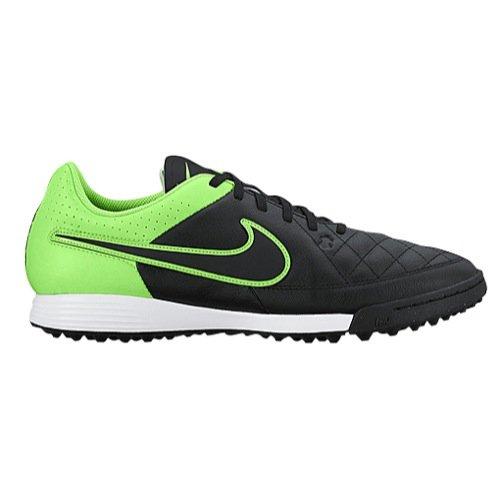Nike Tiempo Genio Leather TF Turf Soccer Cleat (Black, Green Strike) Sz. (Nike Jr Tiempo Genio Leather)