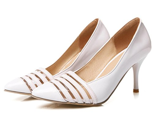 XDGG donne grandi dimensioni piccole scarpe Stiletto Heel Fashion Pointed Toe Sposa Scarpe Primavera E Estate Scarpe Singole , white , 33 custom 2-4 days do not return