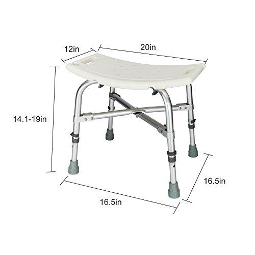 Mefeir Medical Shower Chair Bath Stool Transfer Bench Seat,Heavy Duty 450LBS Upgrade Framework SPA Bathtub Chair,No-Slip Adjustable 6 Height (Normal) by Mefeir (Image #1)