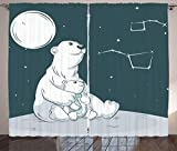 Cheap Ambesonne Starry Night Curtains, Mother Polar Bear Her Son Looking Stars Constellation Illustration, Living Room Bedroom Window Drapes 2 Panel Set, 108 W X 108 L Inches, White Blue Vermilion