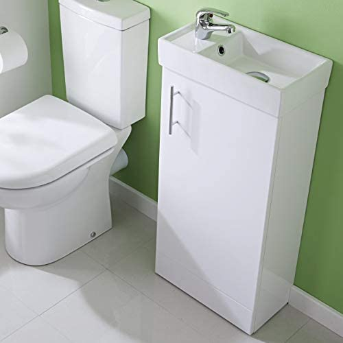 White Floor Standing Vanity Unit 400mm with Basin Bathroom Cloakroom En Suite Storage Furniture & Tap