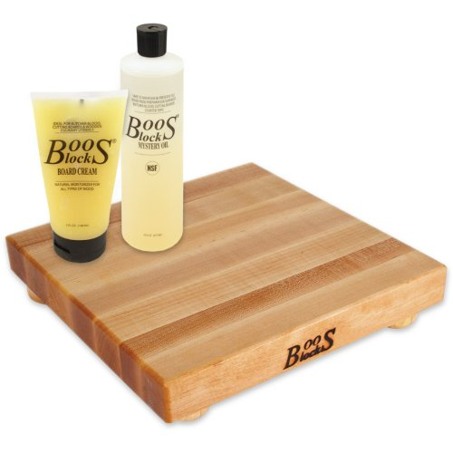 12 Cutting Board Square (John Boos 4 Piece Care and Maintenance Kit with Square Maple Cutting Board with Feet, 12 Inch)