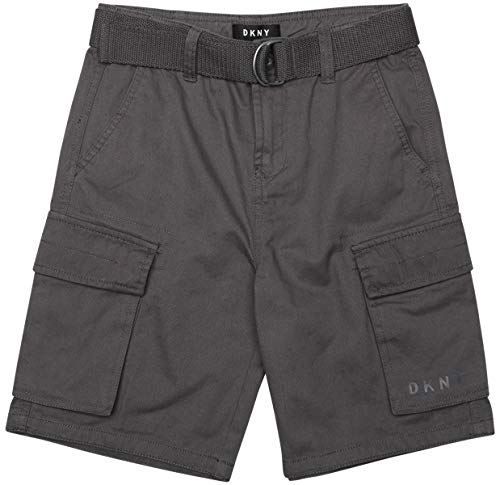 DKNY Boys' Casual Summer Belted Twill Cargo Shorts, Charcoal, Size Medium / 10-12'