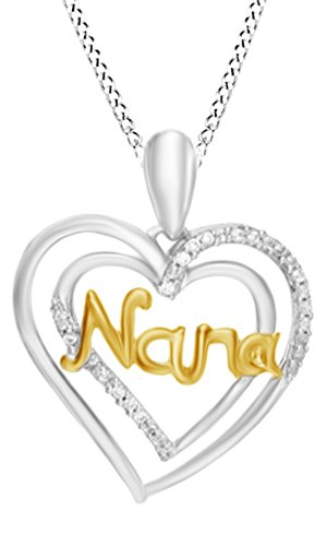 Jewel Zone US Natural Diamond Accent Nana Double Heart Chain Pendant Necklace in 925 Sterling Silver ()