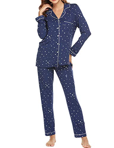 Ekouaer Winter Pajamas Women's Long Sleeve Sleepwear with Notch Collar Soft Nighty Set (Navy with Star,L) - Adult Ultra Cotton Pocket