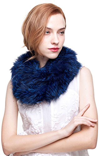 Blue Fox Fur Scarf (Vogueearth Women 2 Material Choose Winter Neck Warmer Fur Scarf Fox Royal Blue)