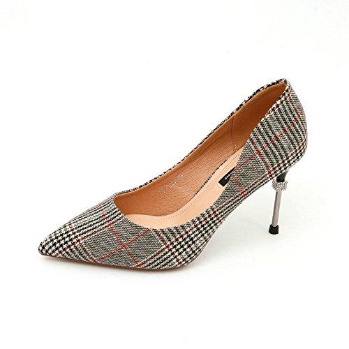 YMFIE Las Mujeres de Primavera y otoño de Verano Zapatos de tartán de Punta Plana Stiletto Rhinestone Sexy Tacones Altos, 39 DE la UE 37 EU