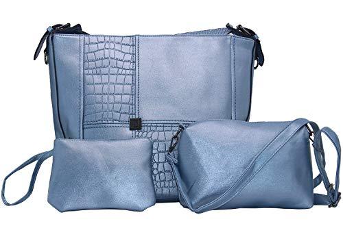 Main Clutches Sac Femme Clair Mode Bleu Handbag Synthétiqu À Bandouliere Pochettes Set Cuir Portés 3pcs Sacs Fivelovetwo Épaule Shoulder R6HWnn