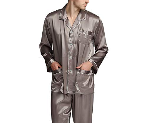 Mens Silk Satin Pajamas Set Pajama Pyjamas Set Sleepwear Loungewear,Wine Red,L by Toping Fine sleepwear (Image #6)