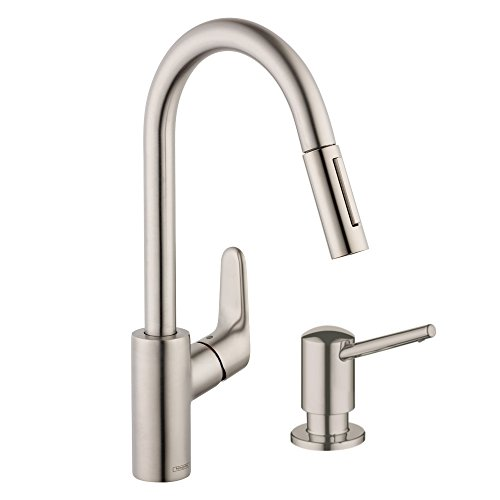Hansgrohe KK04505-04539SO-2 Focus HighArc Pull-Down 1.75 gpm Kitchen Faucet with Soap Dispenser, Steel Optik