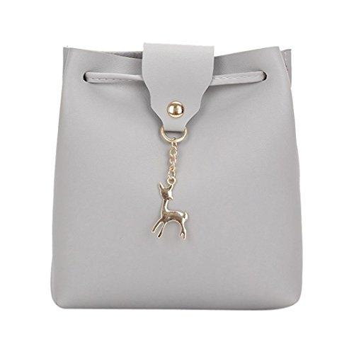 zycShang Main bandoulière Sac de d'épaule métal sac Sacs garnitures en a de avec Gris en Les de un à femmes traversent cuir cerfs sacs communs petit des corps FemmeS cuir en tYntw5qr