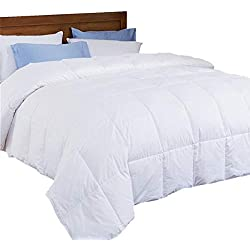 puredown Lightweight Down Comforter, Light Warm Duvet Insert, Full/Queen Size, White