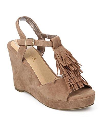 - Betani Women Suede Peep Toe Fringe T-Strap Wedge Sandal EJ31 - Stone (Size: 6.5)