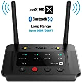 1Mii Long Range Bluetooth 5.0 Transmitter Receiver Bluetooth Audio Adapter Bluetooth Transmitter for TV PC Home Stereo, aptX HD & Low Latency, Optical RCA AUX 3.5mm - B03Pro
