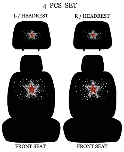 ALLBrand Universal Fit Front 4-Piece Full Set Star Crystal Bling Rhinestone Studded Low Back Front Bucket Seat Covers with Separate Headrest Covers (Mono Star)