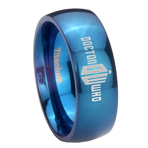 6MM Blue IP Titanium Dr Who Doctor Time Design Bad Wolf Dome Women's Ring Size 9