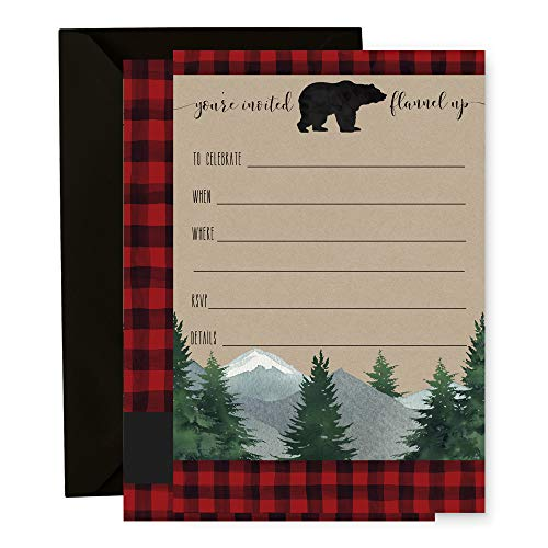 (15 Lumberjack Invitation Cards with Black Envelopes Baby Shower, Birthday Party)