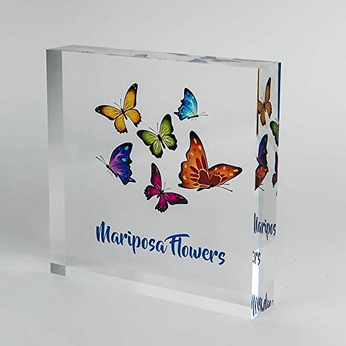 Desk Display Personalized Business Company Logo Printed on Premium Clear Acrylic Glass Block Custom Office Decor Perfect Décor Convention Trade Show Unique Customized Desk Accessories