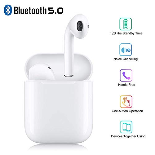 Bluetooth 5.0 Wireless Headphones, Wireless Earbuds with Portable Charging Case, in-Ear Earphones Bass Stereo Headsets Noise Cancelling Wireless Earbuds Compatible with All Smartphones White