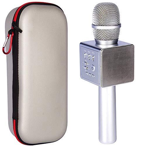 Wireless Karaoke Microphone,Micgeek i6 Mini Handheld Karaoke Player Built-in Bluetooth Speaker, Aluminium Alloy Karaoke MIC Machine/tools for Home KTV/Phone/PC With Accompaniment(Silver)
