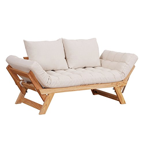 HOMCOM Single Person 3 Position Convertible Couch Chaise Lounger Sofa Bed - Natural Wood/Cream White - Futon Loveseat Bed Sofa