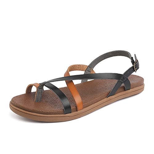 Black Womens Shoes Tan - DREAM PAIRS Women's Strappy Flat Sandals Size 8 M US Black/Tan Dumbo-Slim