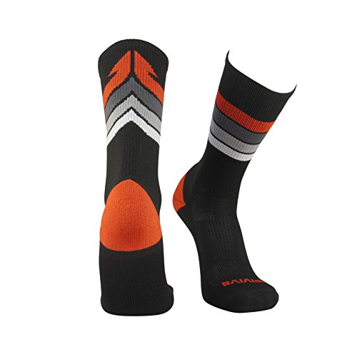 Epivive Retro Refresh Basketball Lacrosse Socks (BKOrange, Medium)
