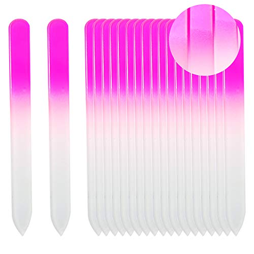 - SIUSIO Set of 20 Professional Crystal Glass Nail Files Buffer Manicure Gradient Rainbow Color for Nail polishing - Best for Fingernail & Toenail Care(pink)