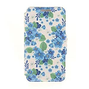 DUR Kinston Greenery and Blue Whiter Flowers Diamond Paste Pattern PU Leather Full Body Case with Stand for iPhone 5/5S