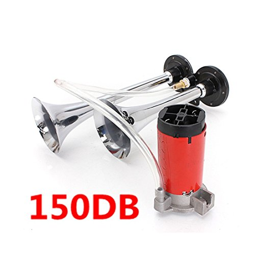 AUDEW 12V Air Horns Chrome Dual Trumpet 150db Super Loud With Compressor Twin Tone for SUV Truck Train Van Boat (Loud Air Horns)