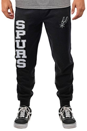 fan products of NBA Men's San Antonio Spurs Jogger Pants Active Basic Soft Terry Sweatpants, Large, Black