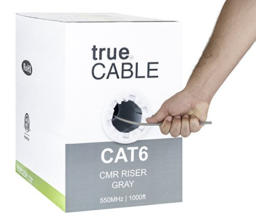 trueCABLE Cat6 Riser (CMR), 1000ft, Gray, 23AWG 4 Pair Solid Bare Copper, 550MHz, ETL Listed, Unshielded Twisted Pair (UTP), Bulk Ethernet Cable