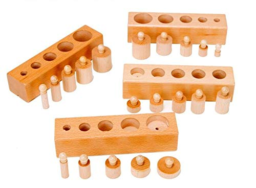 (Allpdesky Kids Montessori Wooden Cylinder Socket Math Toys Baby Early Learning Education Toy Family Game)