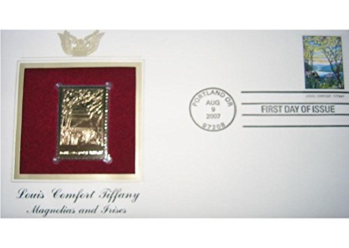 2007 Louis Comfort Tiffany Magnolias Irises Replica 22kt Gold Golden Cover Stamp Tiffany Magnolia