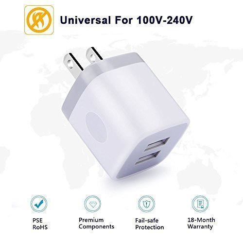Wall Charger Cube & 6ft Micro USB Cable, 5V/2 1A Double USB Plug Wall  Adapter Power Cube Brick Base + 2-Pack Braided Cord Android Charger for LG  K20