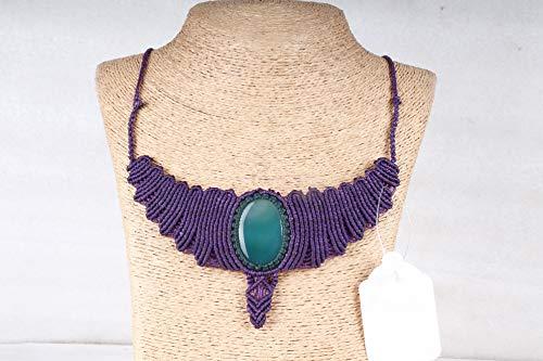 Handmade Macrame Necklace Chick Pendant Jewelry Onyx Stone Cord Bohemian