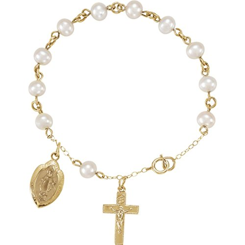 14k Yellow Gold Freshwater Cultured Pearl Rosary Bracelet