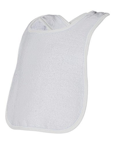 Rabbit Skins 1003 Infant Snap Bib w/ Contrast Color Binding, White