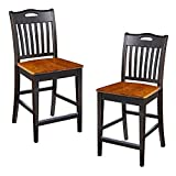 Cheap Furniture At Home 130 American Heritage Bar Stool, Set of 2, Black/Oak