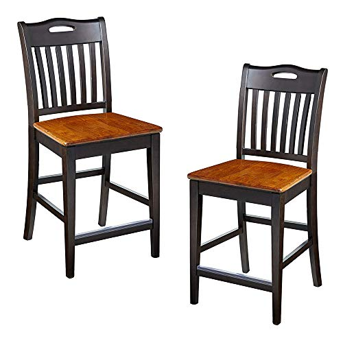 Furniture At Home 130 American Heritage Bar Stool, Set of 2, Black/Oak
