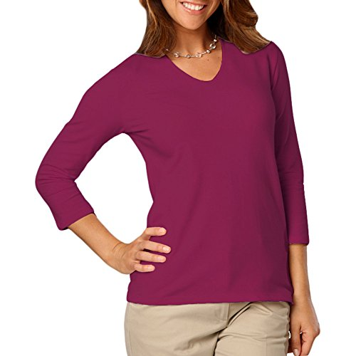 Blue Generation BG4703 - Ladies 3/4 Sleeve V Neck Tee (Small, Berry)