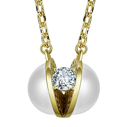 Fancilla Gold Tone Novelty Simulated CZ and Pearl Pendant Necklace Christmas Gifts for Women Girls, 18''