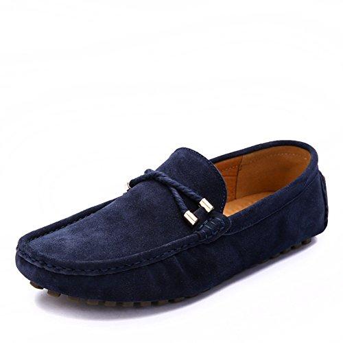 Pedal del pie de simple moda zapatos de gente perezosa de Doug/Clásicos zapatos conducción cómodos peelings/Zapatos de hombre casual de verano Azul